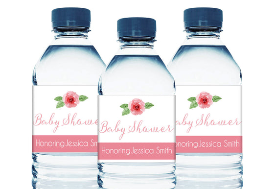 Rose Personalized Girl Baby Shower Water Bottle Labels