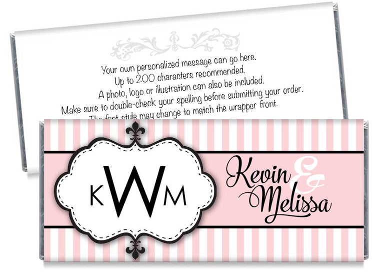 Monogram Stripes Wedding Candy Bar Wrappers