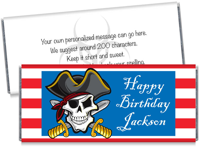 Pirate Party Boy Birthday Party Candy Bar Wrappers
