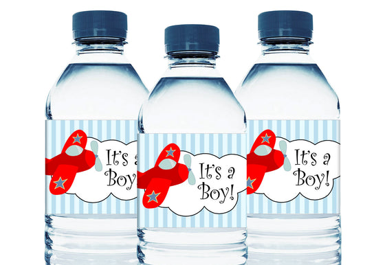 Plane Personalized Boy Baby Shower Water Bottle Labels