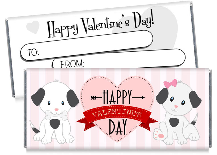 Pink Puppies Valentine's Day Candy Bar Wrappers
