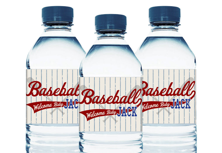 Retro Baseball Personalized Boy Baby Shower Water Bottle Labels