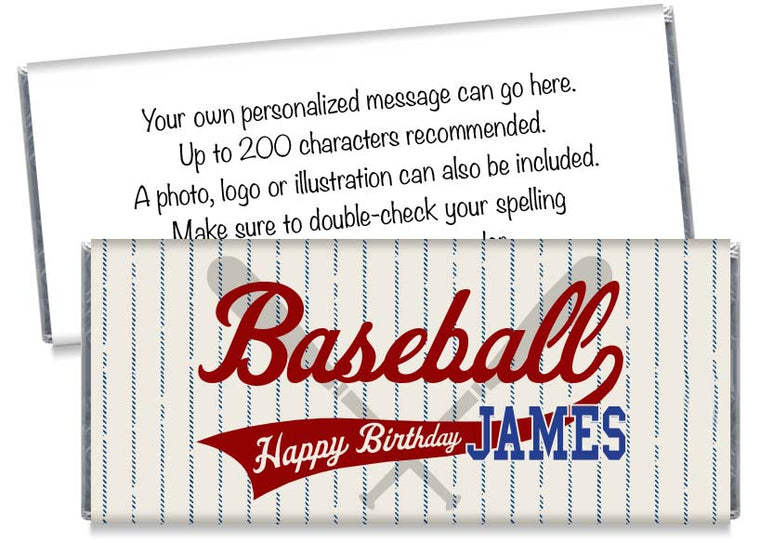 Retro Baseball Birthday Boy Candy Bar Wrappers