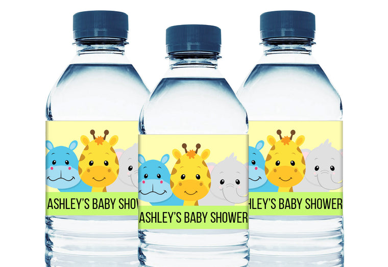 Safari Animals Personalized Boy Baby Shower Water Bottle Labels