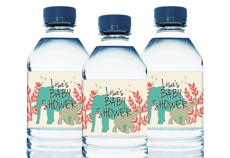 Jungle Safari Elephants Personalized Baby Shower Water Bottle Labels