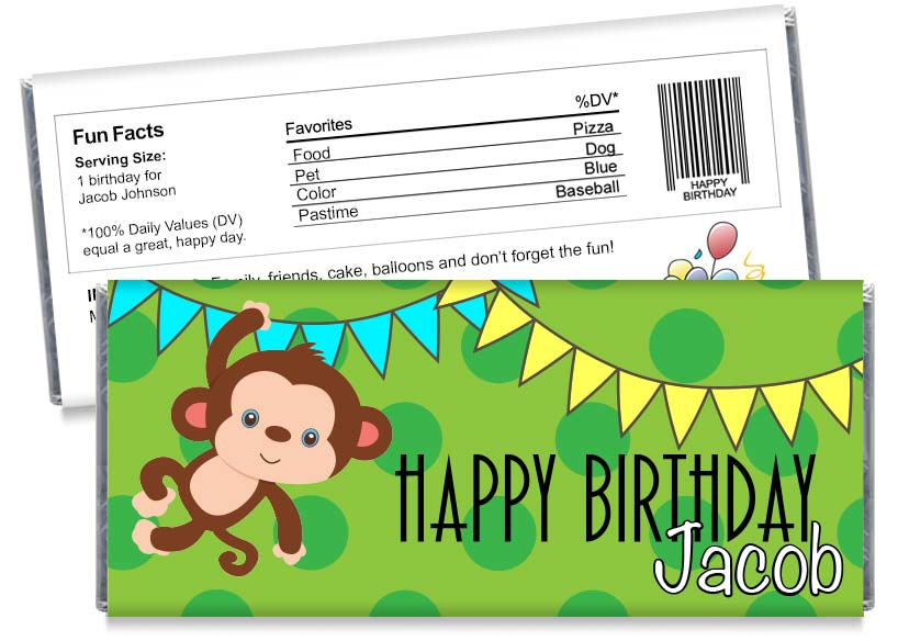 Monkey Jungle Boy Birthday Candy Bar Wrappers