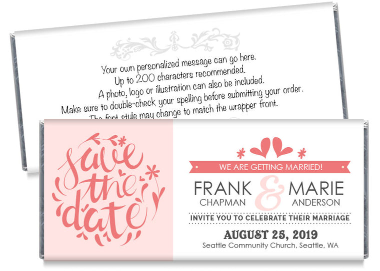 Save the Date Wedding Candy Bar Wrappers