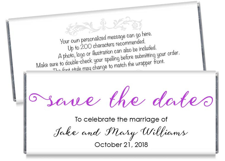 Save the Date Script Wedding Candy Bar Wrappers