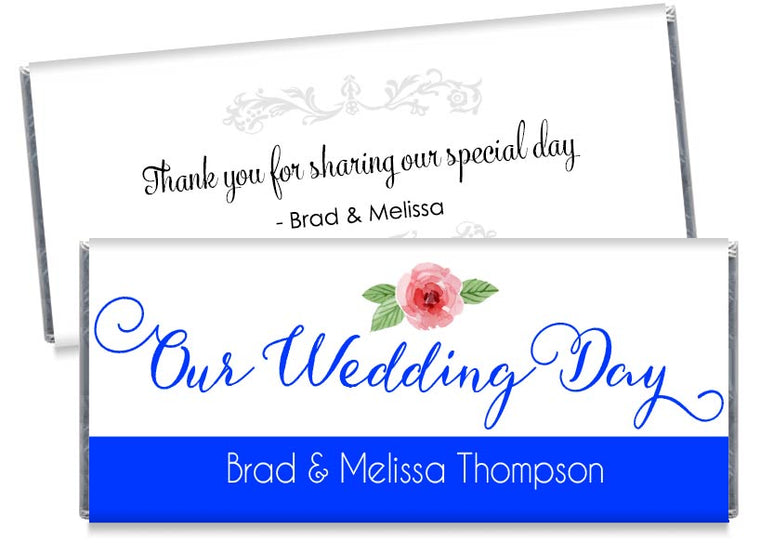 Blue Our Wedding Day Script Wedding Candy Bar Wrappers