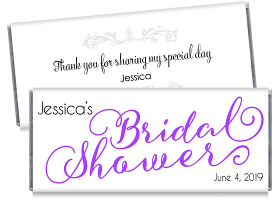 Bride Script Bridal Shower Candy Bar Wrappers