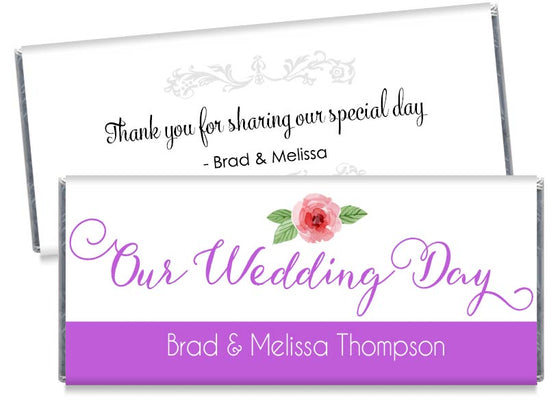 Purple Our Wedding Day Script Wedding Candy Bar Wrappers