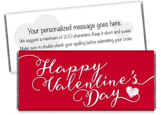 Red Script Valentine's Day Candy Bar Wrappers