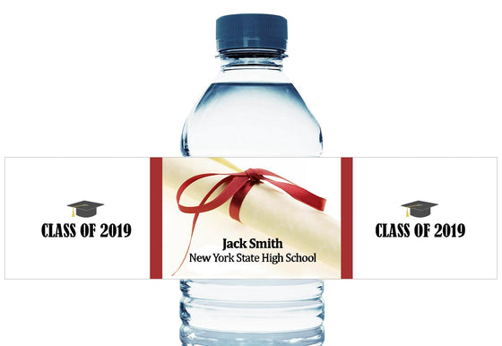 Diploma Personalized School Graduation Water Bottle Labels