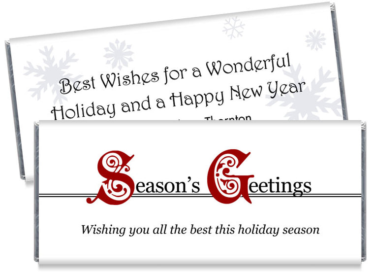 Season's Greetings Holiday Candy Bar Wrappers
