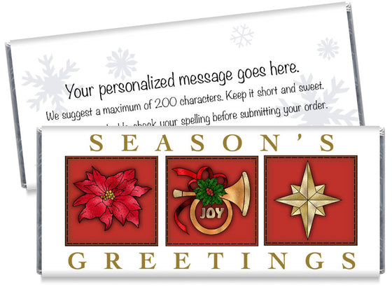 Season's Greetings Joy Candy Bar Wrappers
