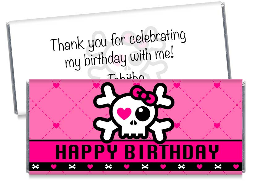 Skull Girl Birthday Party Candy Bar Wrappers