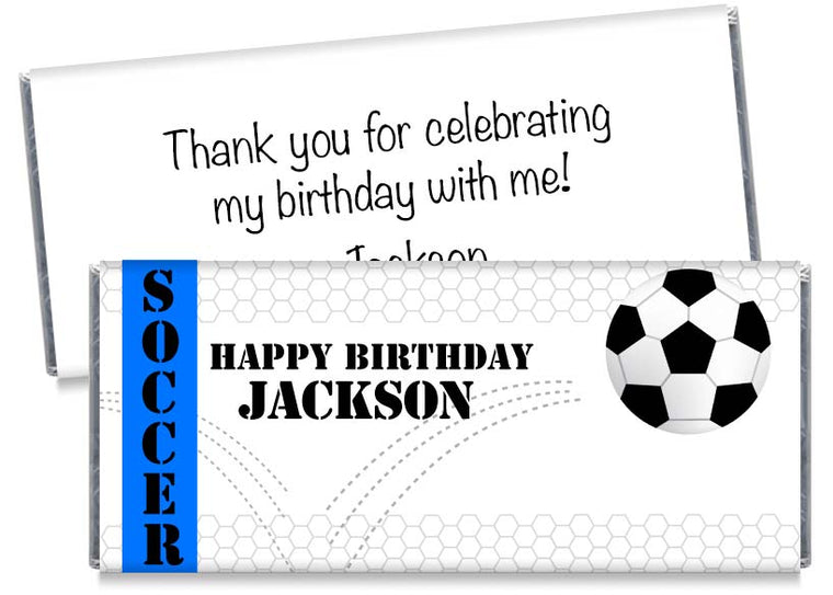 Bouncing Soccer Party Birthday Candy Bar Wrappers