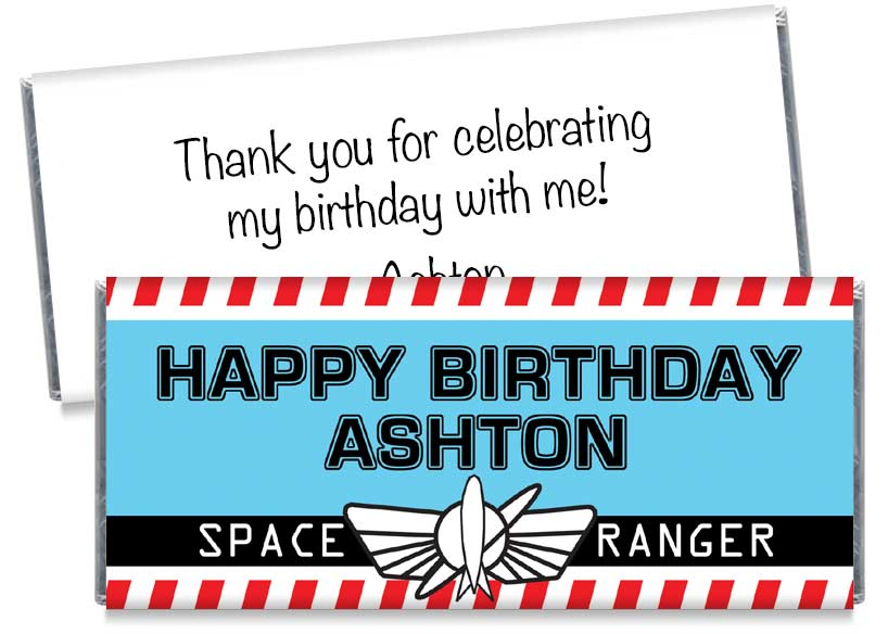Space Ranger Birthday Party Candy Bar Wrappers