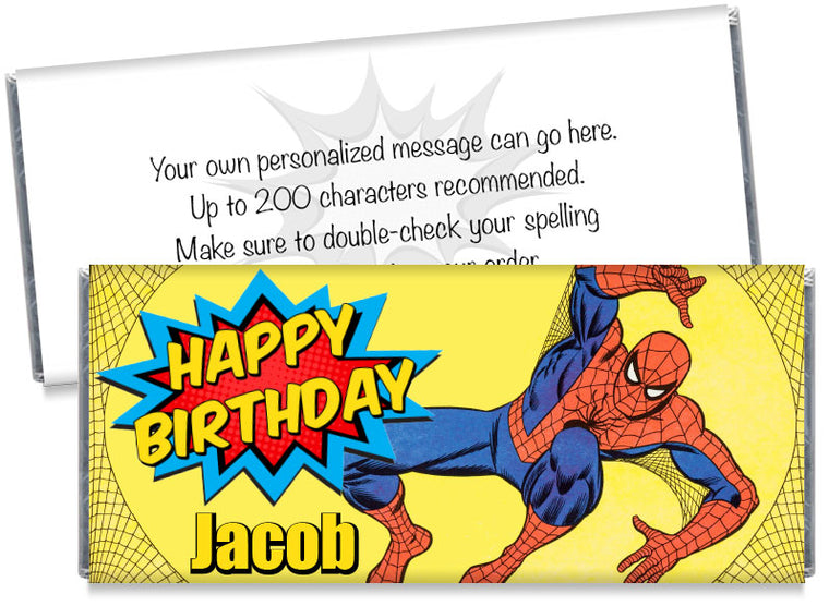 Spider Man Inspired Birthday Party Candy Bar Wrappers