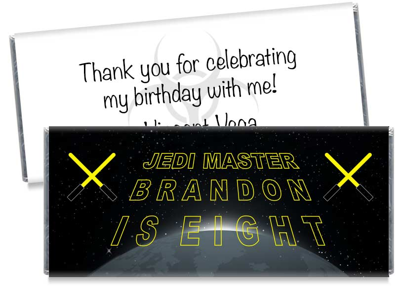 Jedi Master Birthday Candy Bar Wrappers
