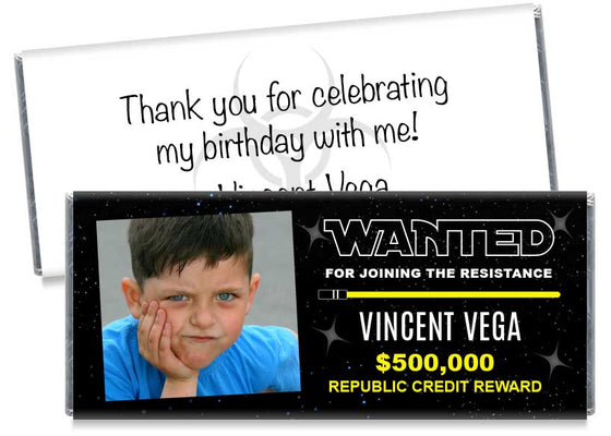 Wanted Resistance Photo Birthday Party Candy Bar Wrappers