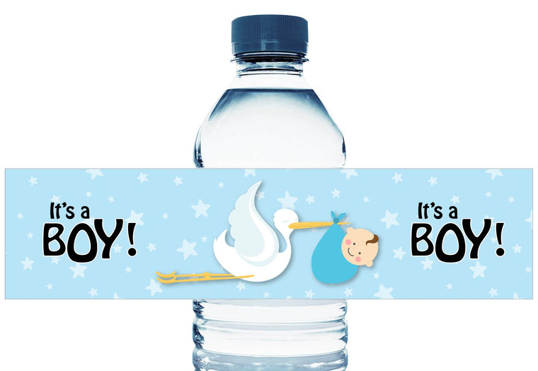 Stork Baby Personalized Boy Baby Shower Water Bottle Labels