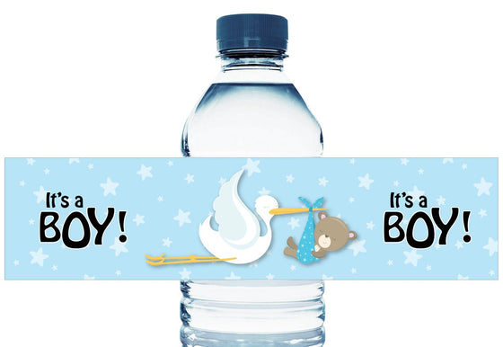Stork Teddy Personalized Boy Baby Shower Water Bottle Labels