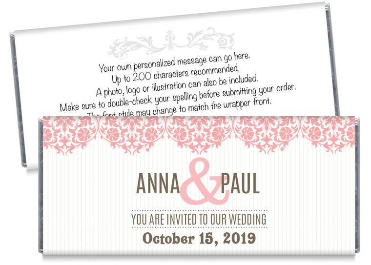 Stripes Save the Date Wedding Candy Bar Wrappers