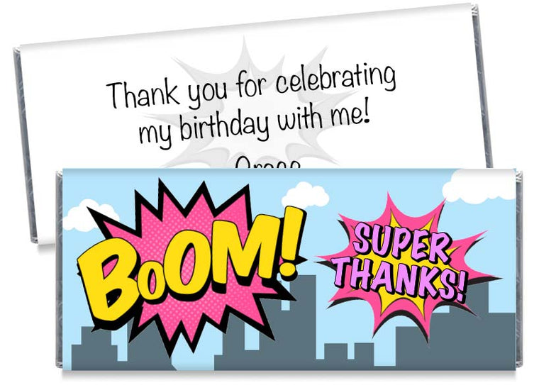 Boom! Super Thanks! Birthday Candy Bar Wrappers