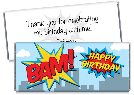 Super Hero BAM! Birthday Candy Bar Wrappers