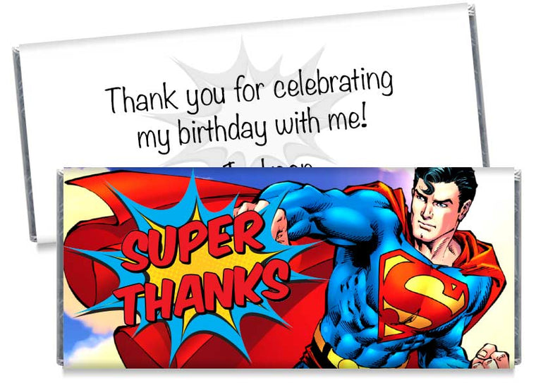 Super Thanks Superman Inspired Birthday Candy Bar Wrappers