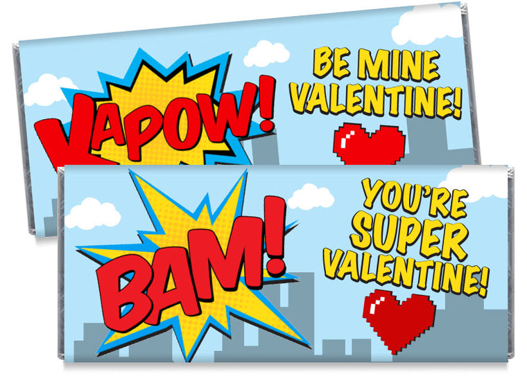 Super Hero Valentine's Day Candy Bar Wrappers