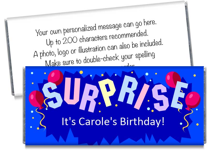 Surprise! Adult Birthday Party Candy Bar Wrappers