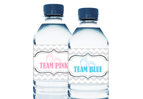 Team Pink Team Blue Personalized Gender Reveal Baby Shower Water Bottle Labels