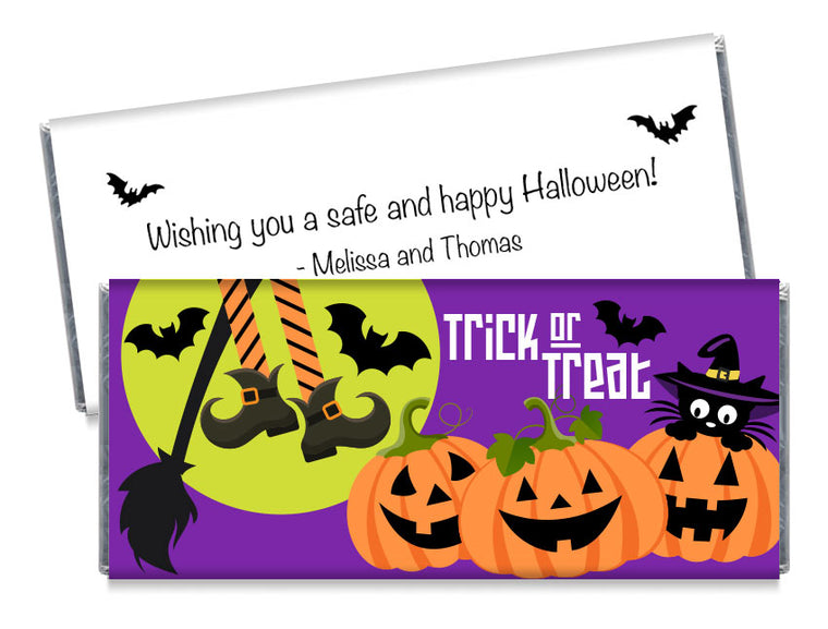 Witch and Pumpkins Halloween Candy Bar Wrappers