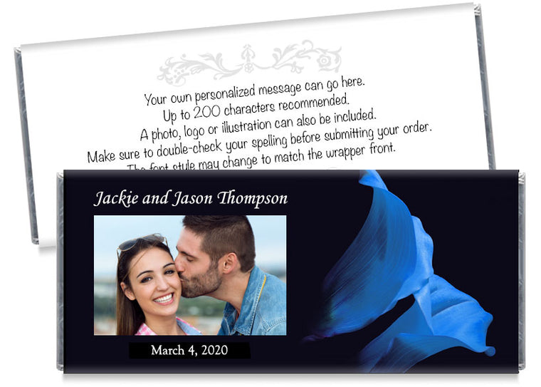 Blue Tulip Photo Wedding Candy Bar Wrappers