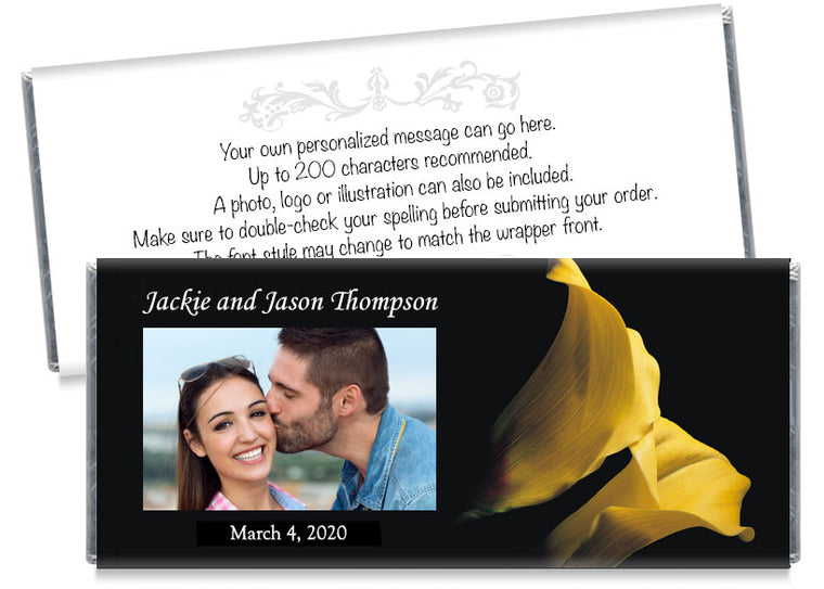 Yellow Tulip Photo Wedding Candy Bar Wrappers