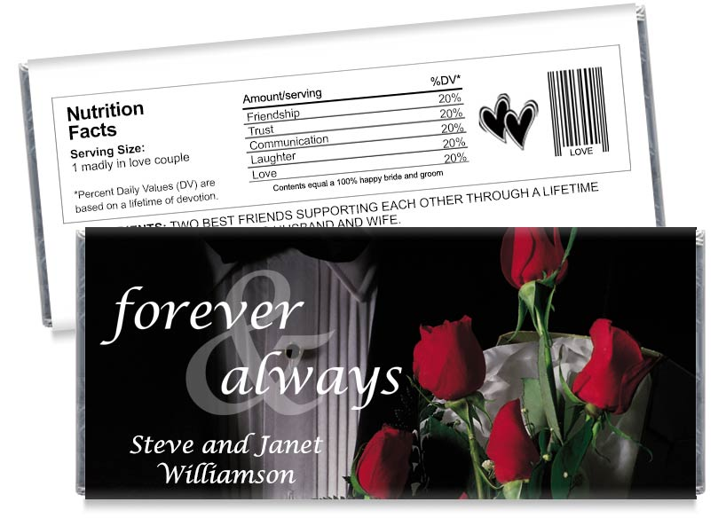 Forever and Always Tuxedo Wedding Anniversary Candy Bar Wrappers