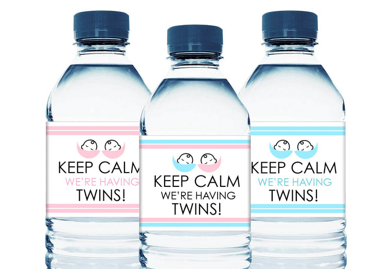 Keep Calm! We're Having Twins Water Bottle Labels