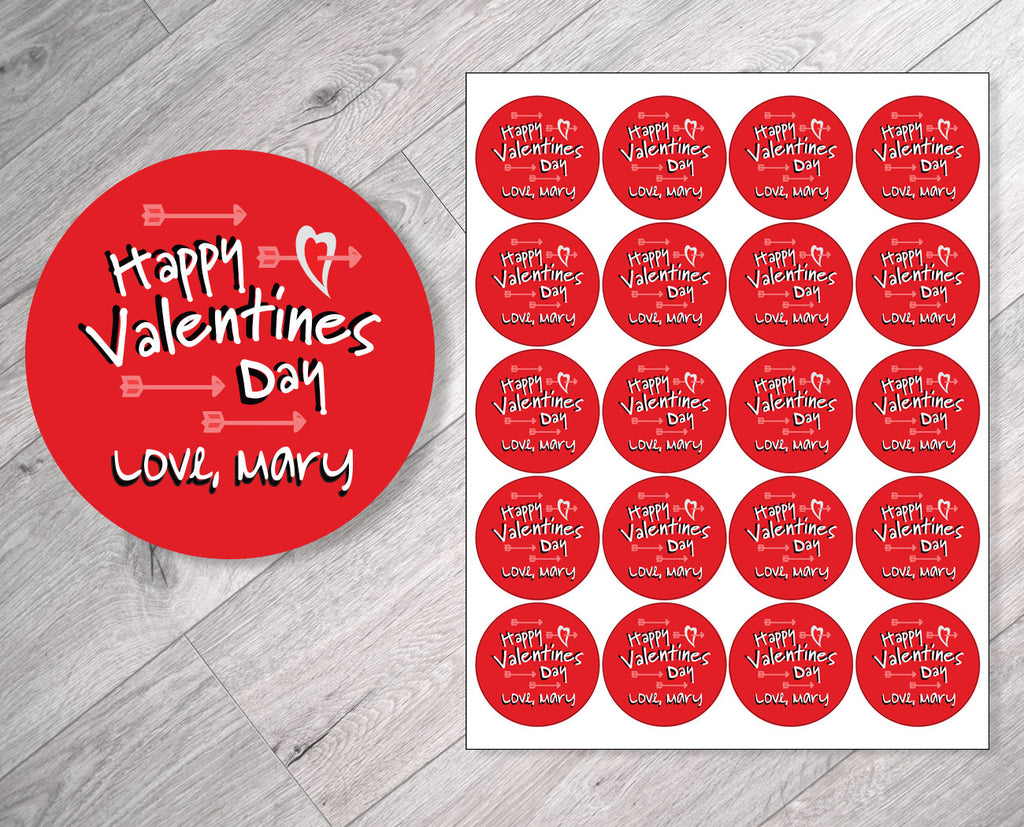 Happy Valentine's Day Personalized Valentine's Day Stickers