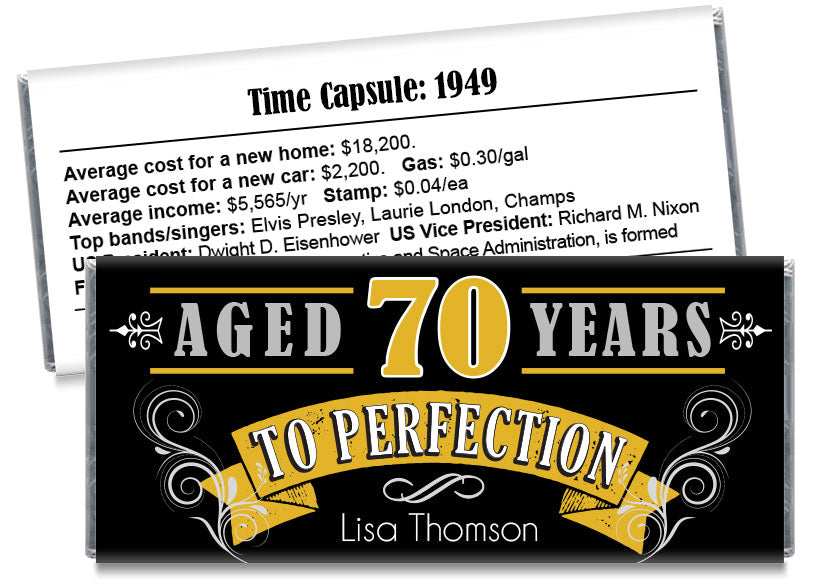 Vintage Aged to Perfection Adult Birthday Party Candy Bar Wrappers