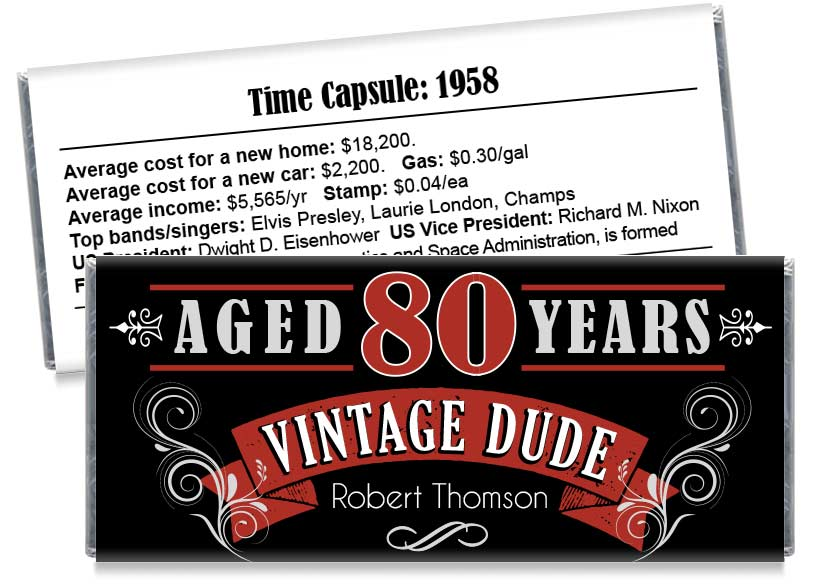 Vintage Dude Adult Birthday Party Candy Bar Wrappers