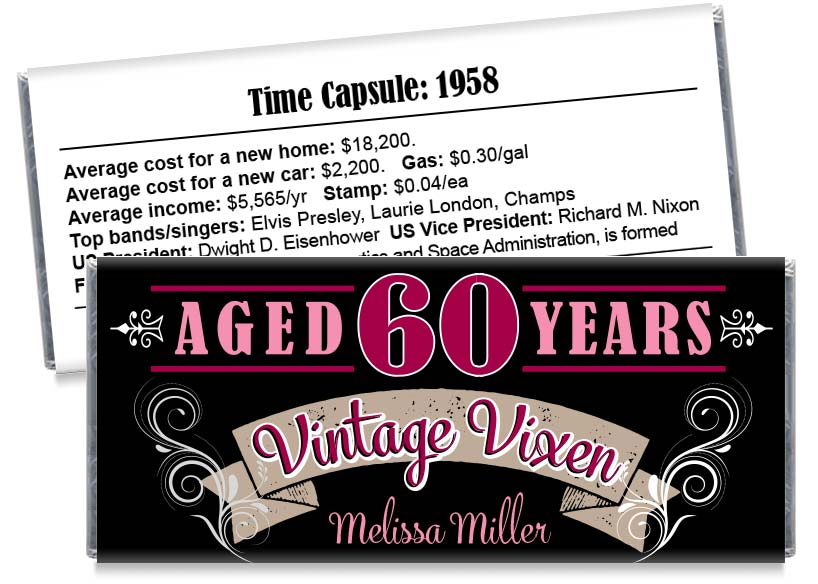 Vintage Vixen Adult Birthday Party Candy Bar Wrappers