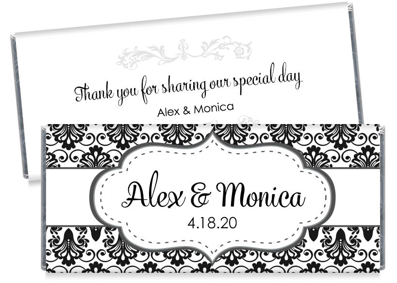 Black Paisley with Banner Wedding Candy Bar Wrappers