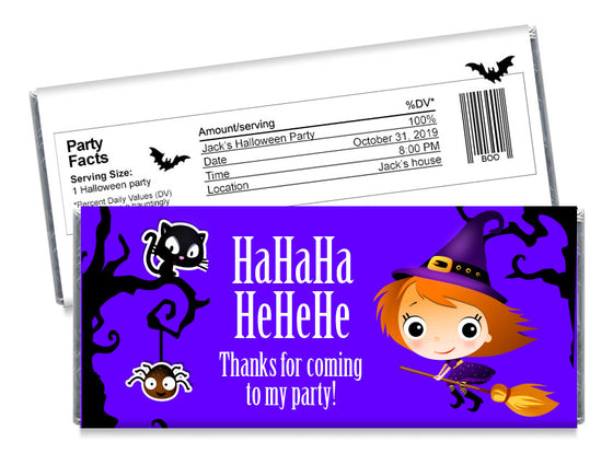 He He He Witch Halloween Candy Bar Wrappers