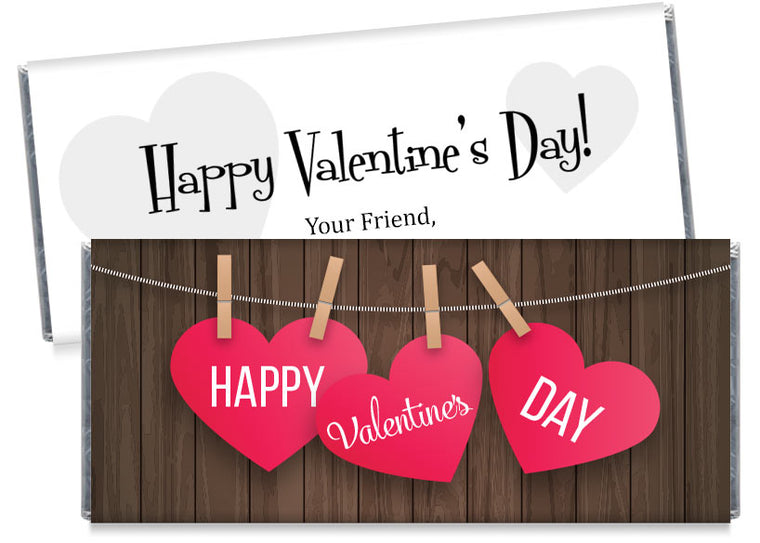 Hanging Wood Hearts Valentine's Day Candy Bar Wrappers