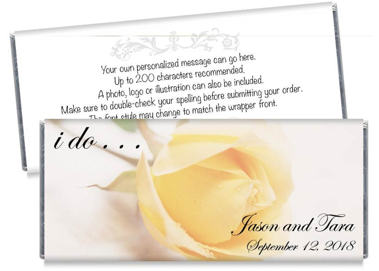 Yellow Rose Wedding Candy Bar Wrappers