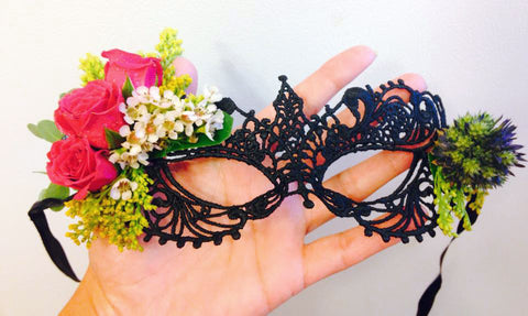 Black Lace Mask with Floral