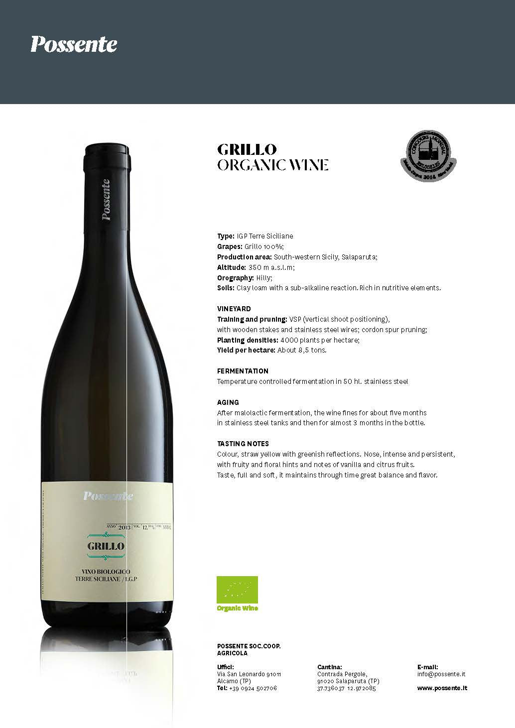 Grillo Organic White Wine