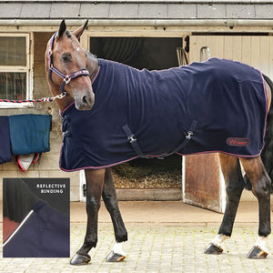 WHITAKER FLEECE RUG RASTRICKAVY/REFLECTIVE